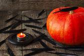 Большая тыква, черные перья и свеча — Стоковое фото