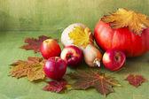 Appels, pompoenen en kleurrijke esdoorn bladeren op een groen houten bac — Stockfoto