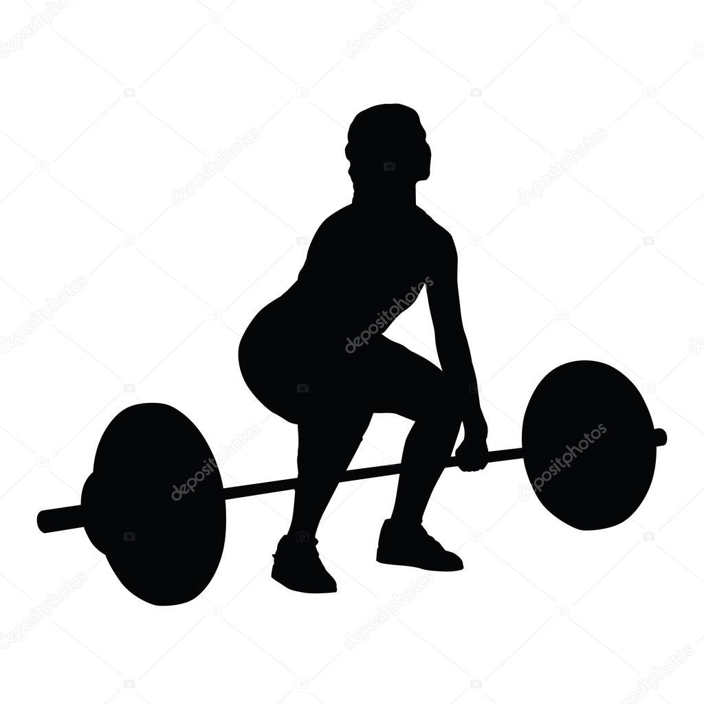 Silueta de vector de mujer de levantamiento de pesas ...