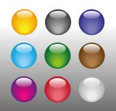 Collection of nine colorful glossy spheres. Vector illustration — ストックベクタ
