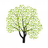 Vector drawing of a deciduous tree with green leaves — Stock vektor