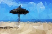 Abstract view of the sea beach with an umbrella in the sand — Vector de stock
