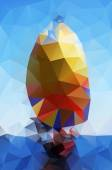 Abstract vector yacht at sea created from triangles — Stock Vector