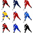 Set vector hockey players in the national jerseys — Stock Vector #63521933