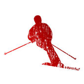 Red abstract skier — Stock Vector