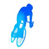 Abstract blue cyclist — Stock Vector
