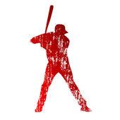 Grungy baseball player — Stock Vector