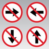 Do not direct, back, left, right traffic sign — Stok Vektör
