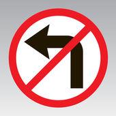 Do not turn left traffic sign — Stock Vector