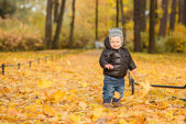 Photo of cute little boy enjoying autumn nature, pretty infant p — Stock Photo