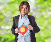 Young business woman with target — Stock Photo