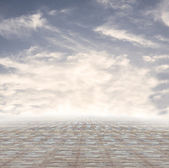 Stone tile floor and blue sky — Stock Photo