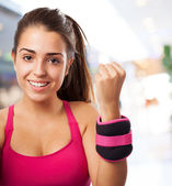 Young girl ready to do fitness — Foto de Stock