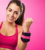 Young girl ready to do fitness — Stock Photo