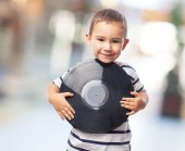 Little boy holding vinyl record — Stock Photo