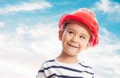 Little boy wearing mason helmet — Stock Photo