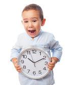 小さな少年保持時計 — ストック写真