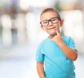 Little boy with think gesture — Stock Photo