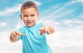 Little boy doing animal gesture — Stock Photo