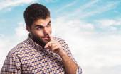 Young man with finger into nose — Stock Photo