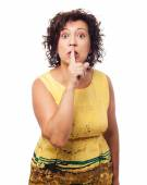 Woman doing silence gesture — Stock Photo