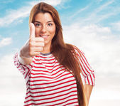 Woman doing an affirmative gesture — Stock Photo