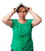 Woman tired of reading — Stock Photo