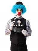 Clown holding a clapper — Stock Photo