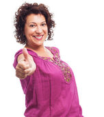 Woman doing a positive gesture — Stock Photo