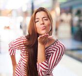 Woman sending a kiss — Stock Photo