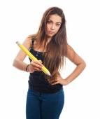 Uczeń posiadający duży ołówek — Zdjęcie stockowe
