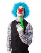 Clown joking about suiciding — Stock Photo