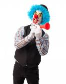 Funny clown with a whistle — Stock Photo