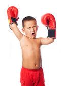 Ragazzino che porta guanti boxer — Foto Stock