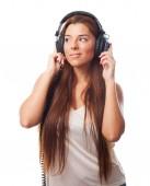 Müzik genç bir kadın — Stok fotoğraf