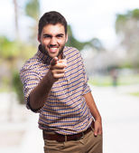 Man pointing with his finger — Stock Photo