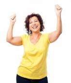 Mature woman doing a winner gesture — Stock Photo