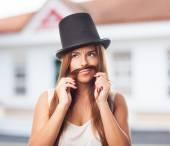 Girl imitating a man — Stock Photo