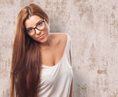 Woman posing with glasses — Stockfoto