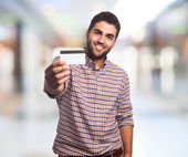 Man showing credit card — Stock Photo
