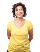 Mature woman over white — Stock Photo