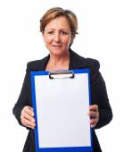 Woman showing files — Stock Photo