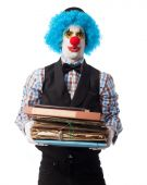 Clown holding a files stack — Stock Photo