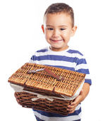 Child with wattled basket — Stock Photo