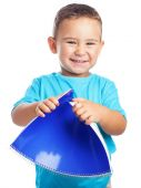 Boy with blue notebook — Stock Photo