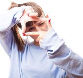 Girl focusing using fingers — Stock Photo