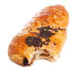 Bitten chocolate croissant — Stock Photo