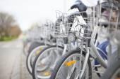 Bicycle row at street — Stock Photo
