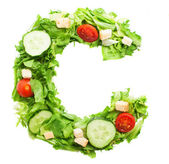 C letter made from salad — Stock Photo