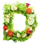 D letter made from salad — Stock Photo